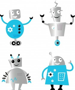 2628741-cute-retro-robots-set-isolated-on-white-blue-and-metal